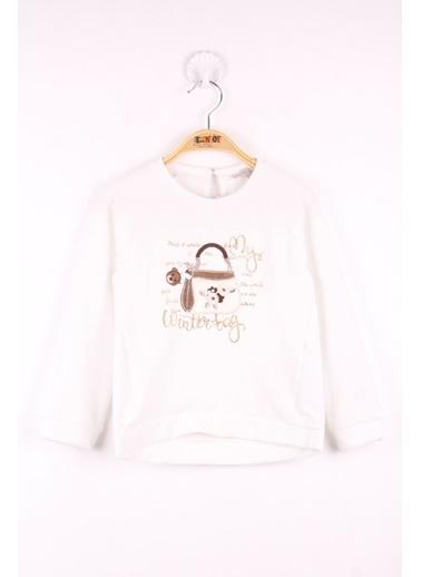 Toontoy Toontoy Kız Çocuk Çanta Nakışlı Sweatshirt Ekru